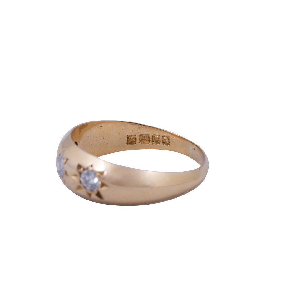 Edwardian 18ct Yellow Gold  Three Stone Diamond Gypsy Set Ring.