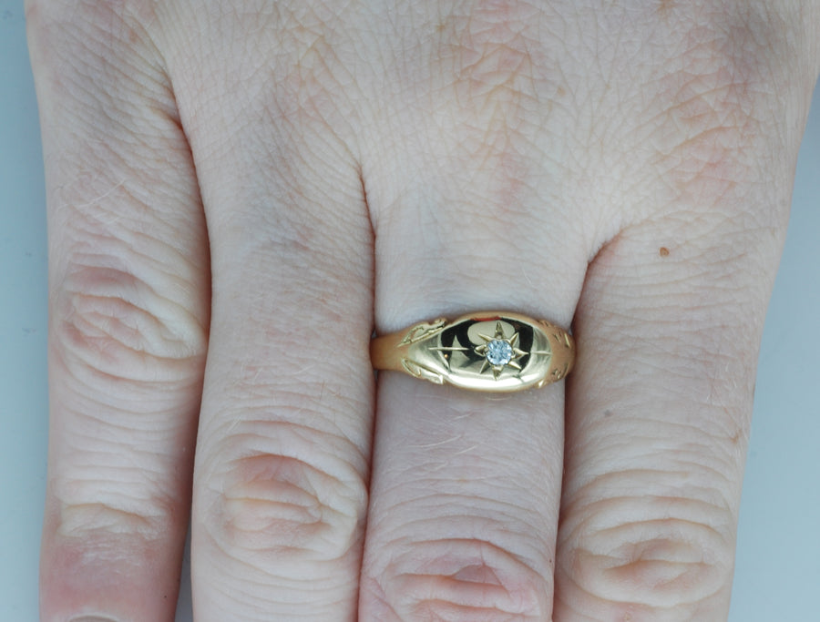 Antique Yellow 18ct Gold Gypsy Set Diamond Ring