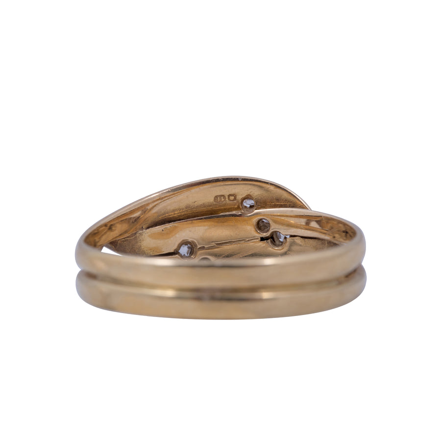 Antique 18ct Yellow Gold  and Diamond Double Snake Ring.