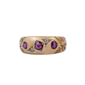 Victorian 18ct Yellow Gold Ruby and Diamond Gypsy Set Ring.