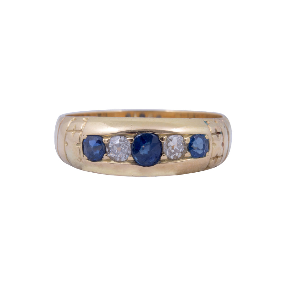 Antique 18ct Diamond and Sapphire Ring.