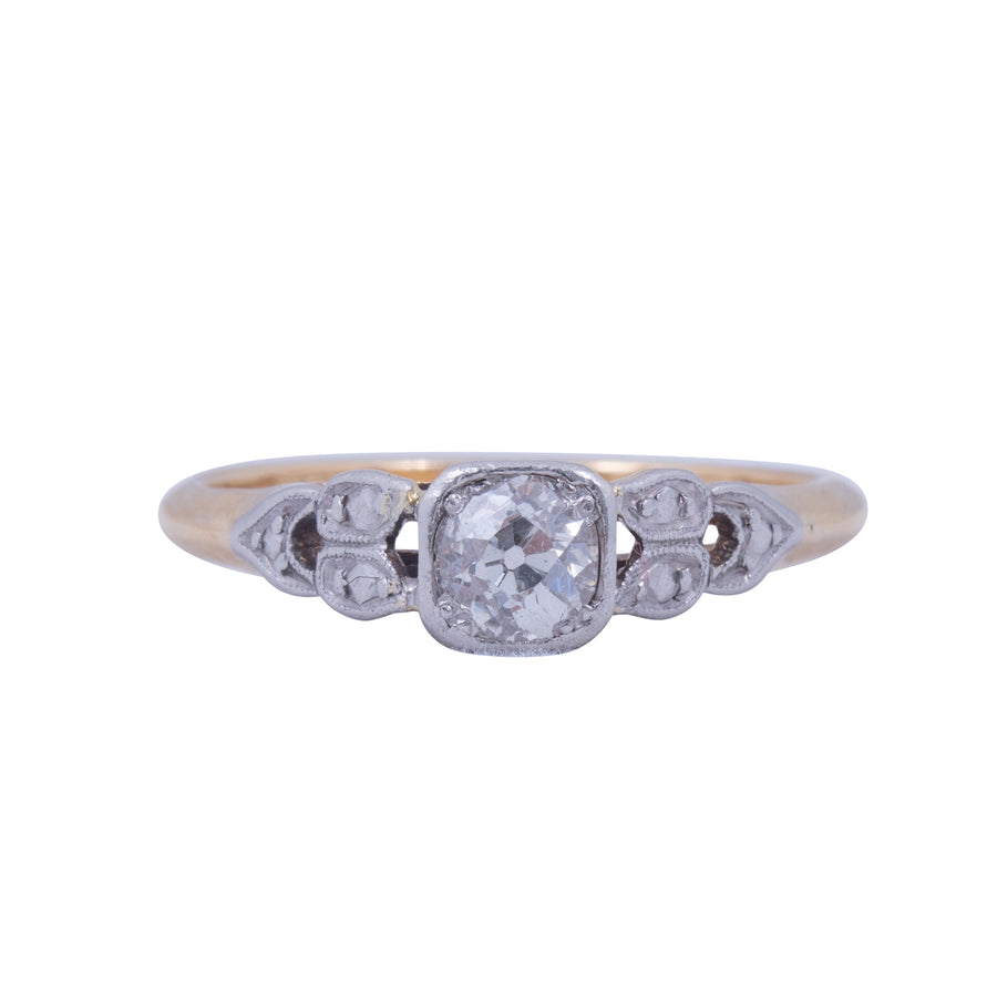 Antique 18ct Gold Solitaire and Platinum Ring Circa 1920