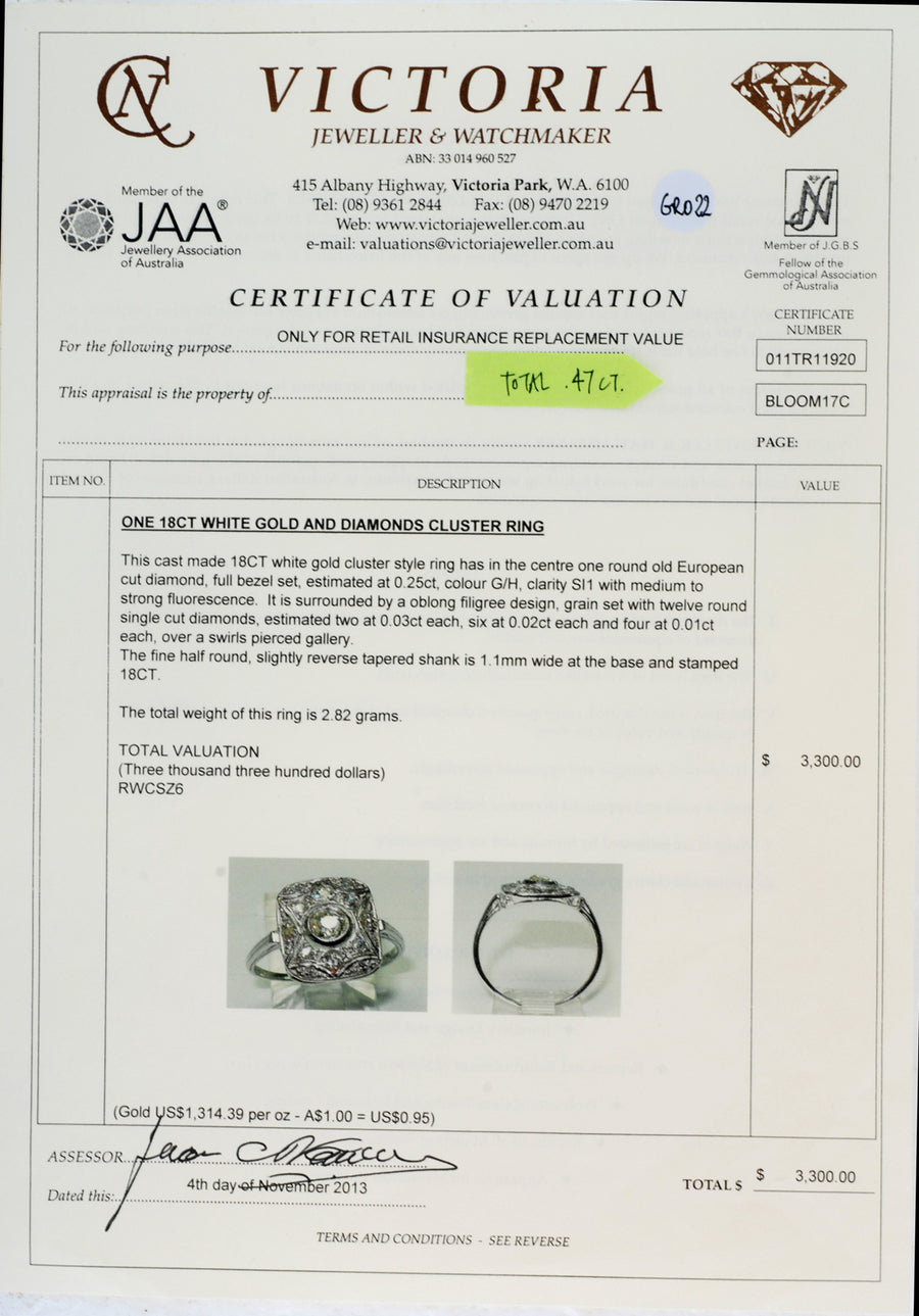 18ct White Gold & Diamond Oblong Ring Deco Style - Certificate of Verification