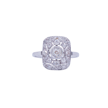 18ct White Gold & Diamond Oblong Ring Deco Style - Front