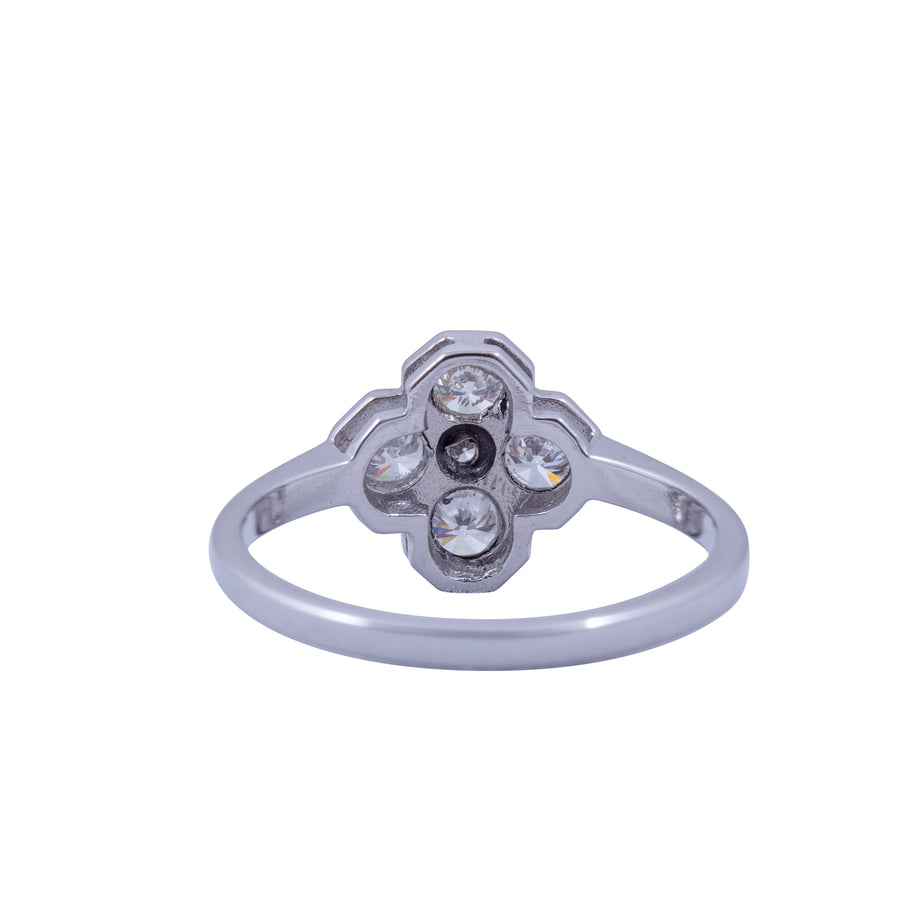 18ct Antique Style White Gold  Diamond Flower Ring.