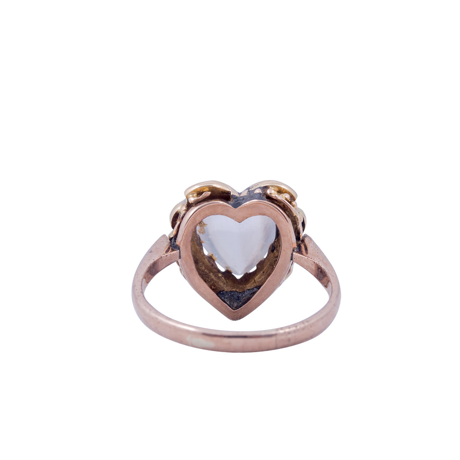 Victorian 9ct Rose Gold and Moonstone Heart Shaped Ring with Pearls.