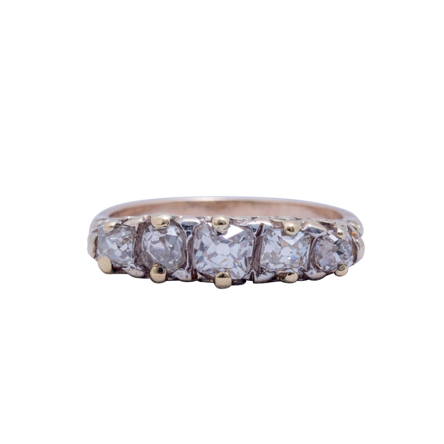 Victorian 18ct 5 Stone Diamond Bridge Ring