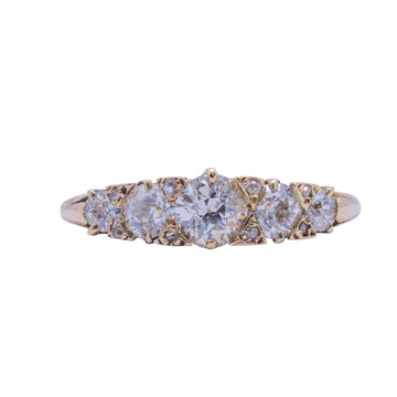 Victorian 18ct Yellow Gold and Diamond Set London Bridge Ring .