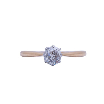 1930's 18ct Yellow Gold Diamond Solitaire - Front