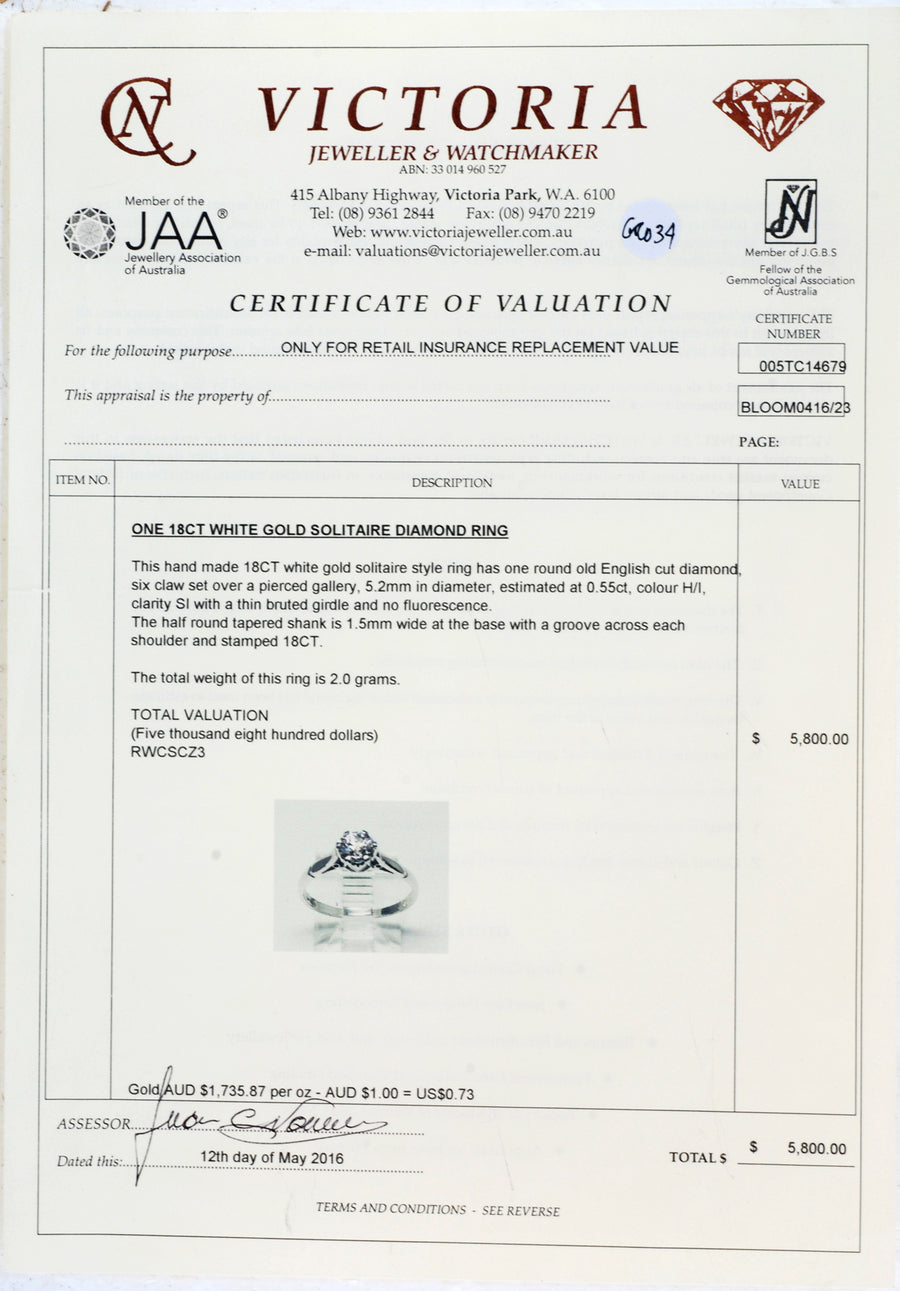 18ct White Gold Solitaire Antique Style - Certificate of Verification
