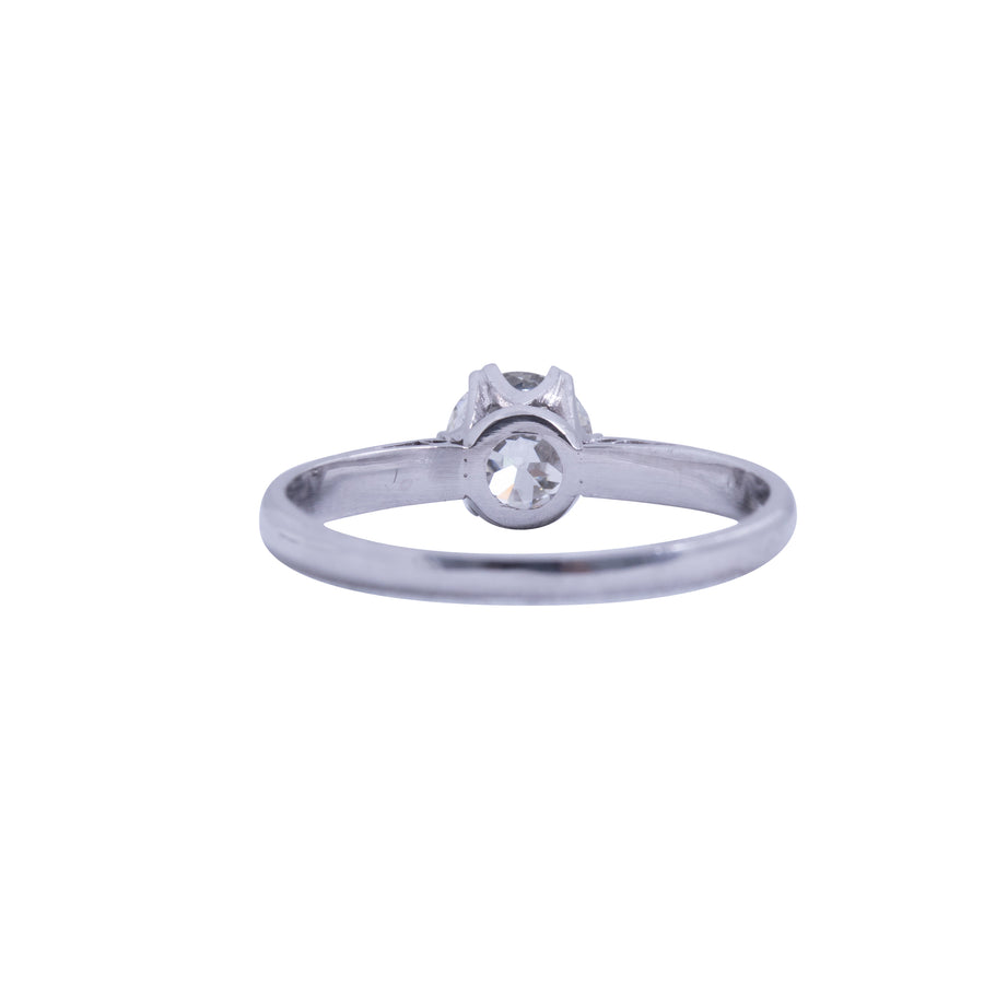 18ct White Gold Solitaire Antique Style - Back