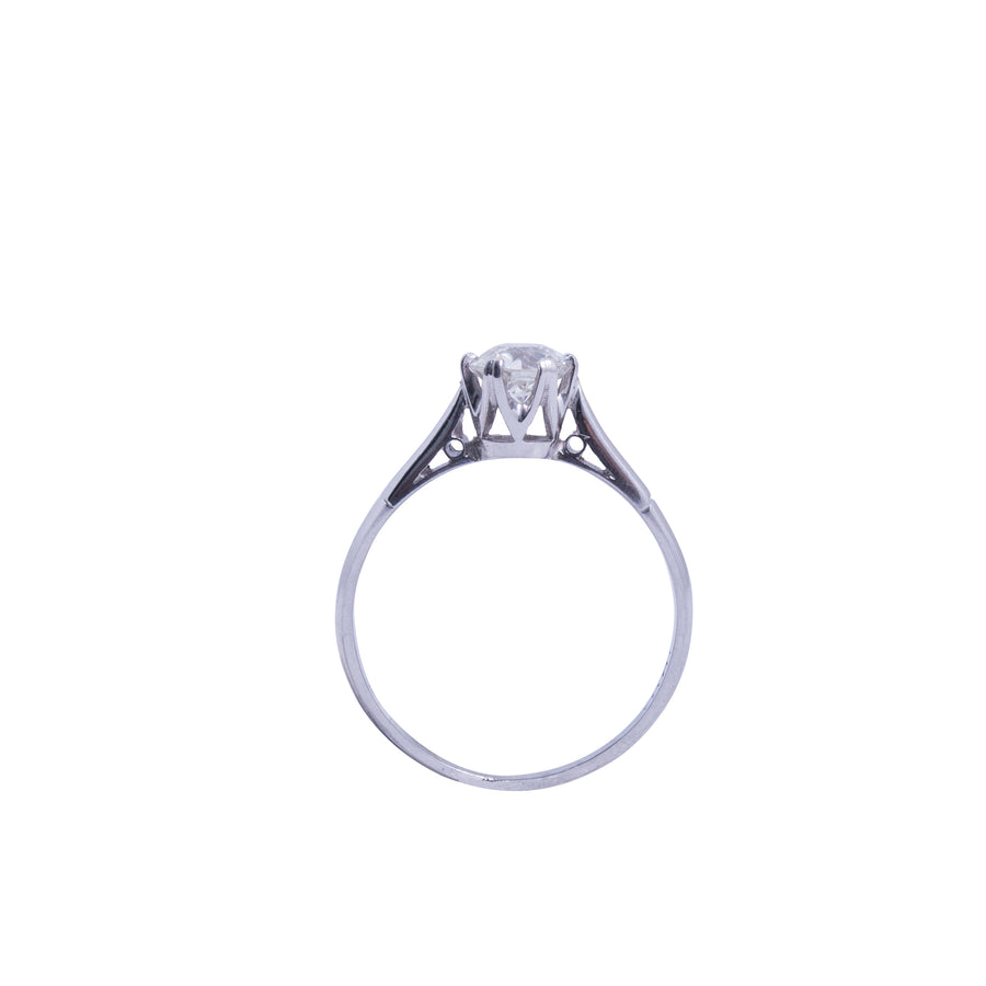 18ct White Gold Solitaire Antique Style - Portrait View