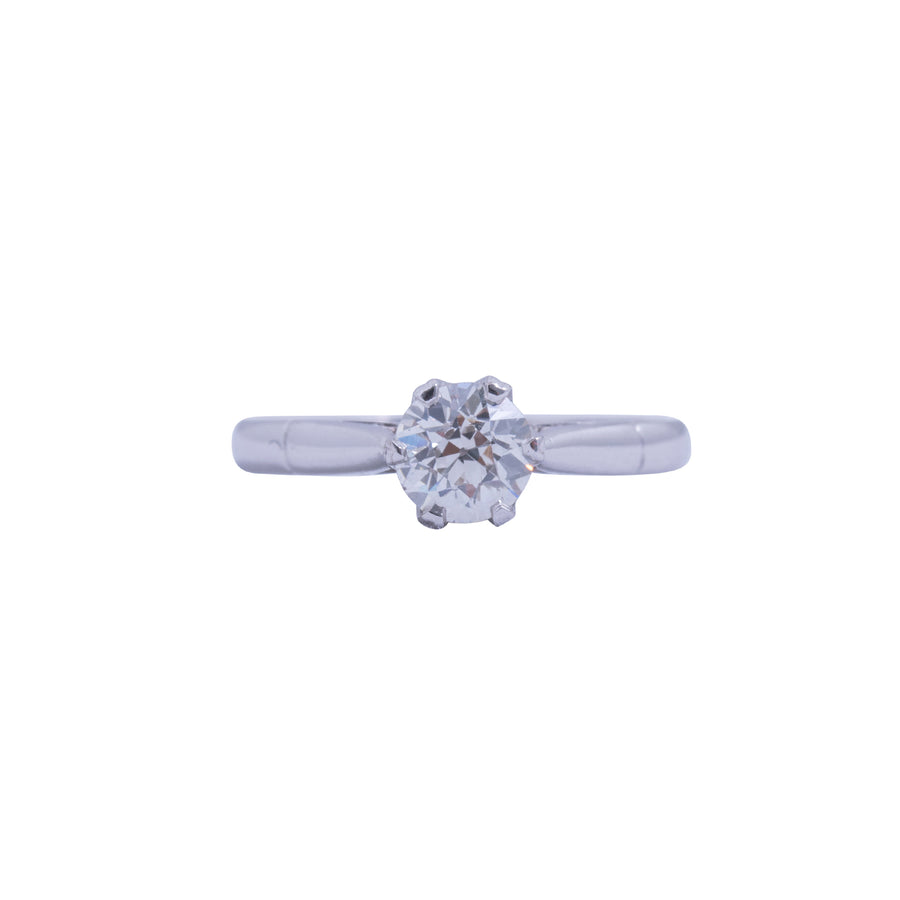 18ct White Gold Solitaire Antique Style - Front