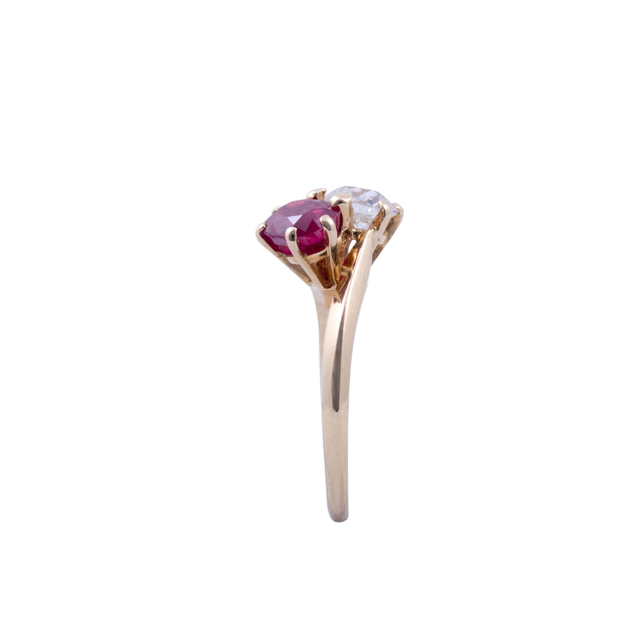 "Edwardian Ruby & Diamond ""Toi et Moi"" Ring"