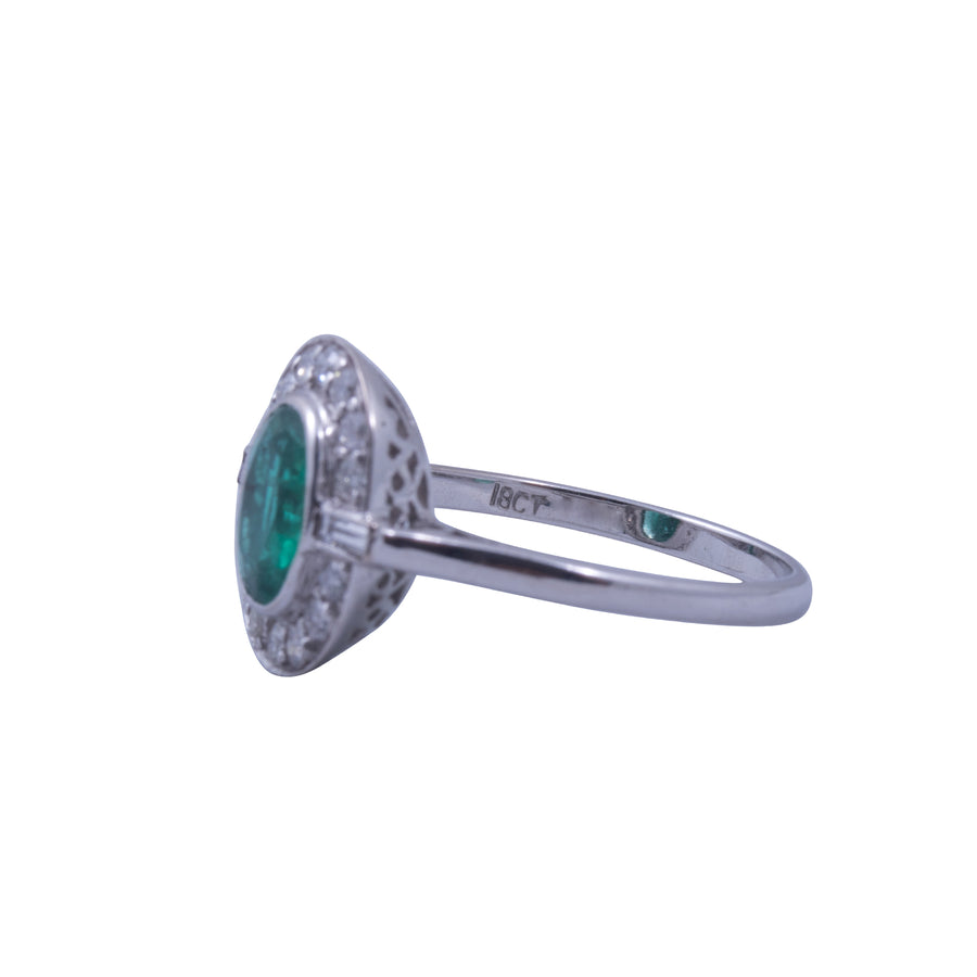 Deco Style 18ct White Gold, Emerald and Diamond Ring.