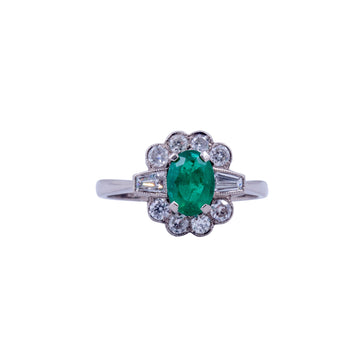 Vintage 18ct White Gold Emerald & Diamond Ring