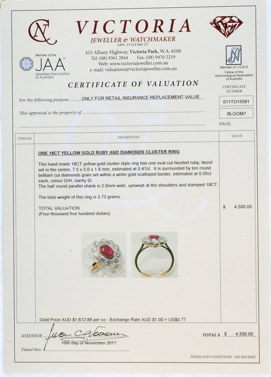 18ct Yellow Gold Ruby & Diamond Ring - Certificate of Verification