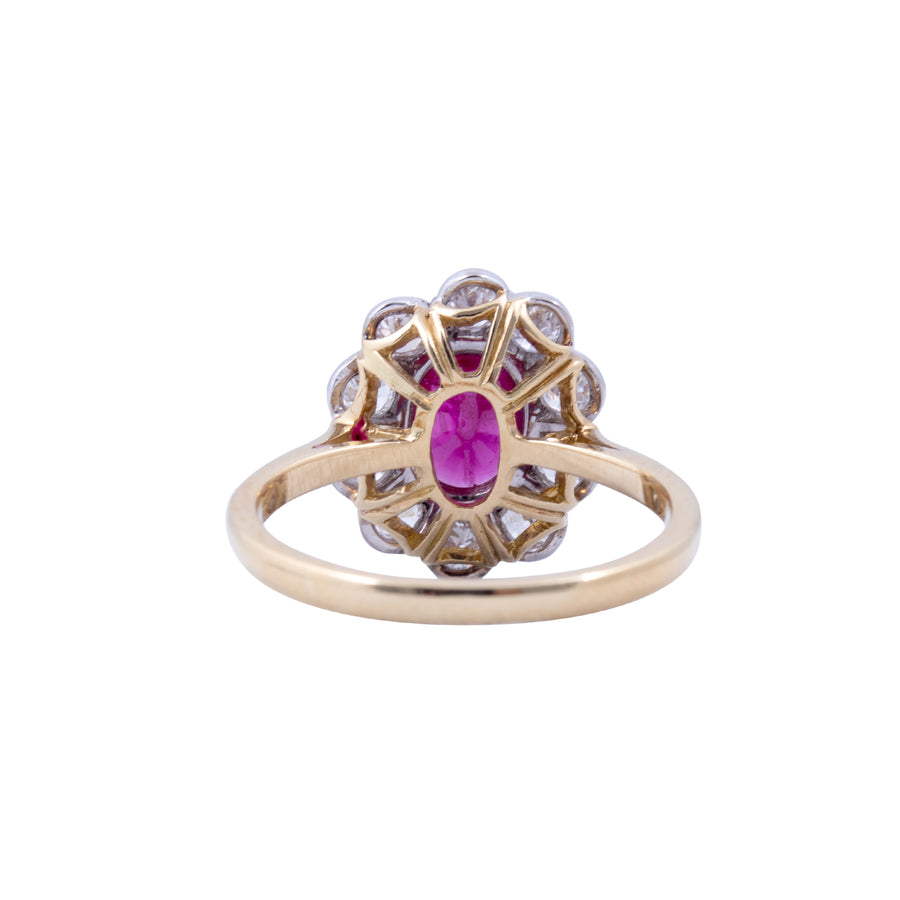 18ct Yellow Gold Ruby & Diamond Ring - Back