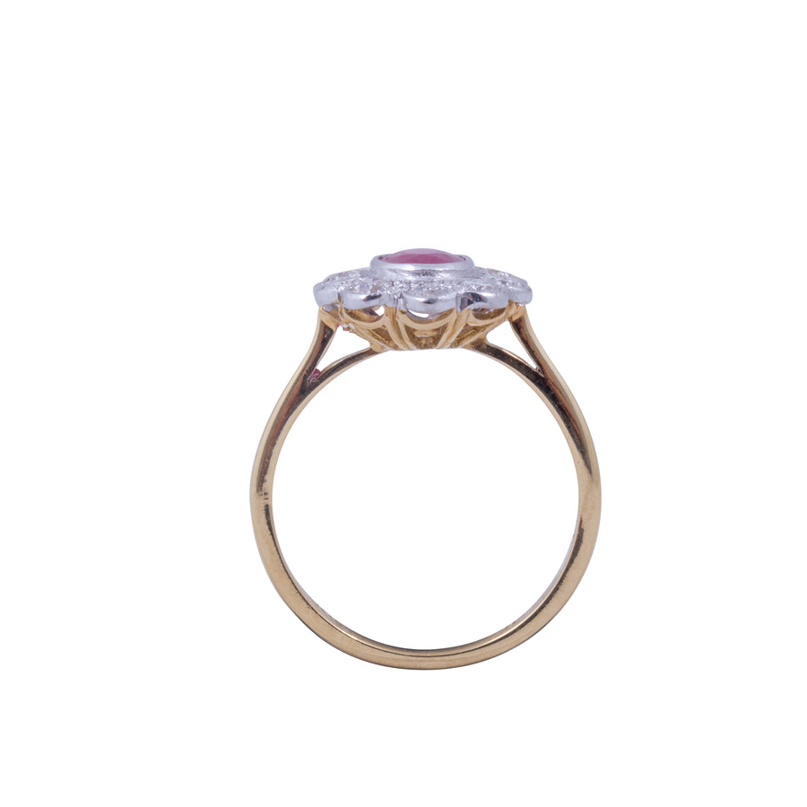 18ct Yellow Gold Ruby & Diamond Ring - Portrait View