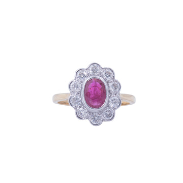 18ct Yellow Gold Ruby & Diamond Ring - Front