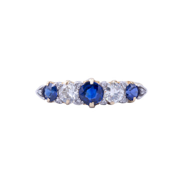 Victorian 18ct Yellow Gold Sapphire & Diamond London Bridge Ring