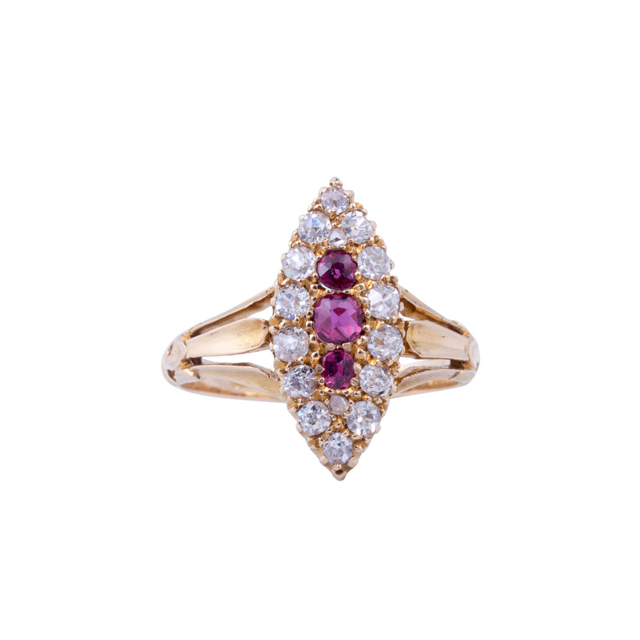 Victorian 18ct Yellow Gold ,Ruby and Diamond Marquise shaped Ring