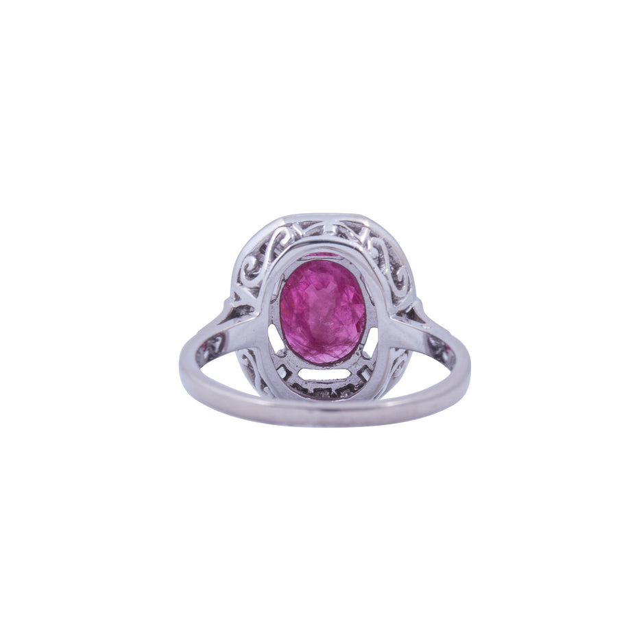 Vintage Ruby, Diamond and White Gold  Halo Ring