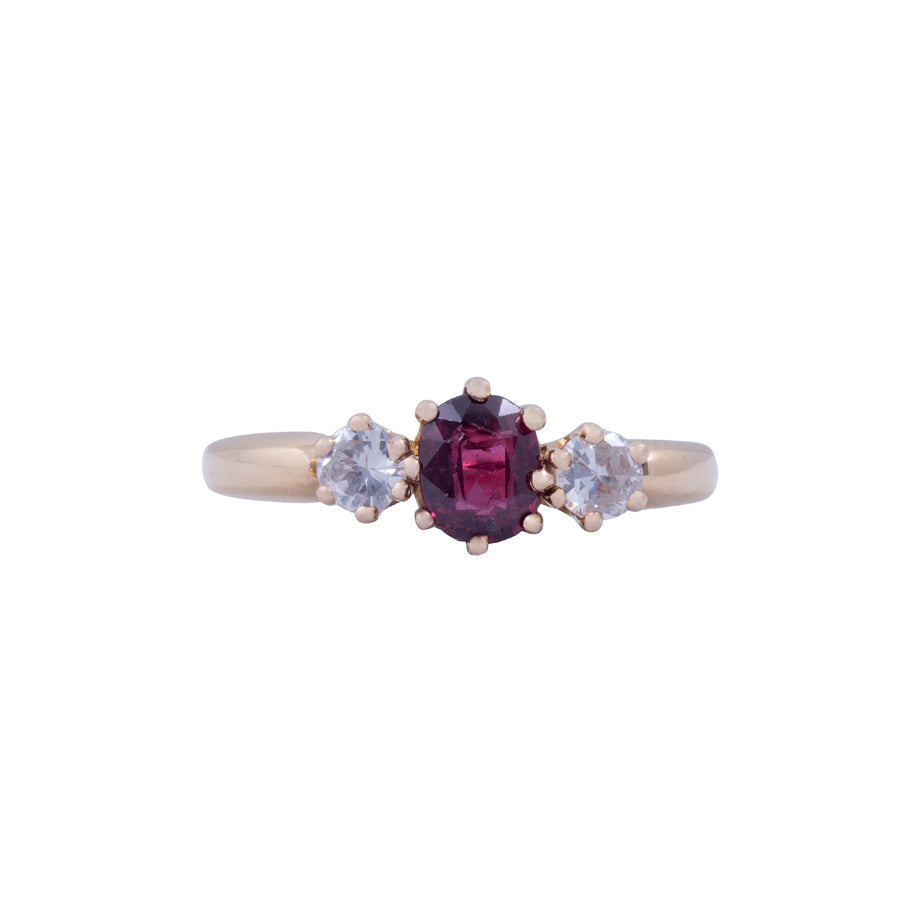 Antique 3 stone 18ct Yellow Gold Ruby and Diamond Ring
