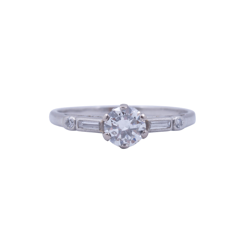1940's 18ct Platinum Solitaire Diamond - Front