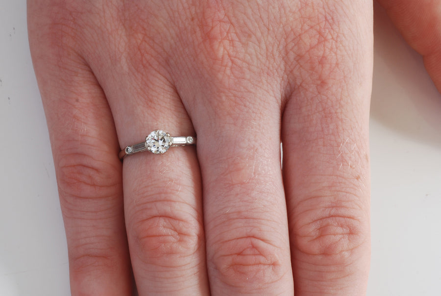 1940's 18ct Platinum Solitaire Diamond - On Model