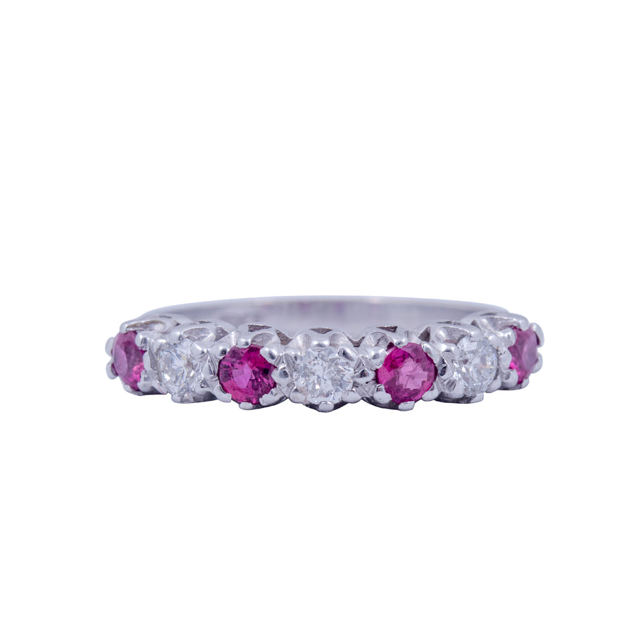 Vintage 18ct White Gold Ruby and Diamond Half Hoop Ring.
