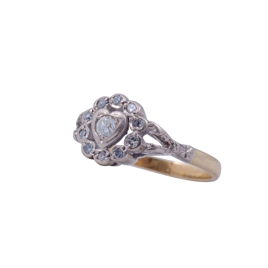 Victorian 18ct Yellow Gold & Diamond Heart Ring