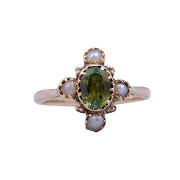 Art Nouveau Demantoid Garnet & Pearl Ring Circa 1900 - Front