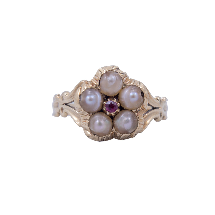 Georgian Pearl Daisy Ring Set With A Ruby