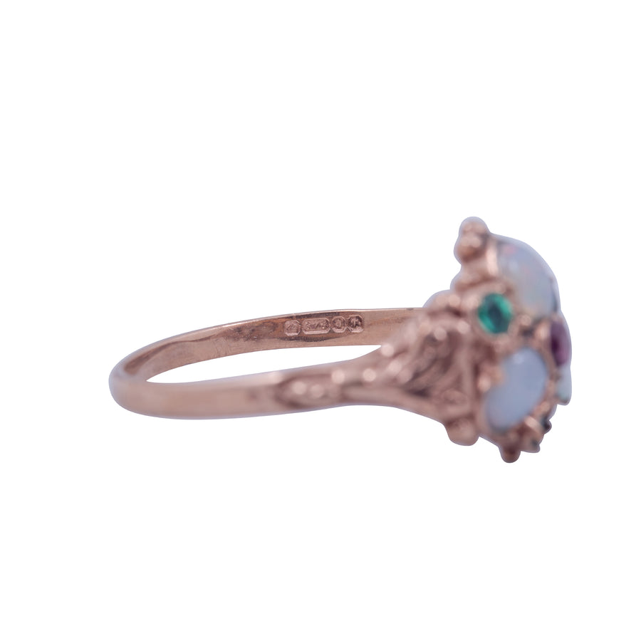 Victorian Style Gold, Opal and Garnet Posy Ring.