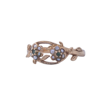 Vintage Yellow Gold Pearl and Garnet Double Daisy Ring.