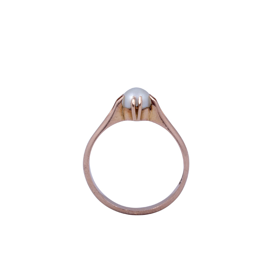 Antique 15ct Rose Gold and Natural Pearl Ring.