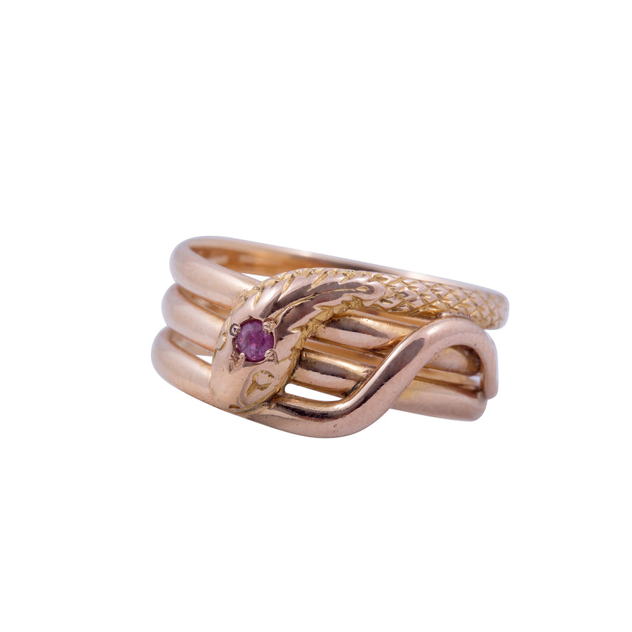 Antique 18ct Rose Gold and Ruby Single Snake Ring