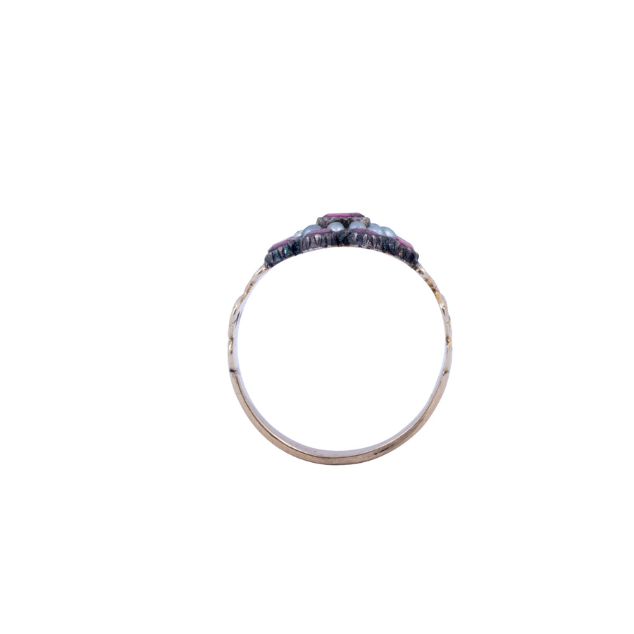 Georgian 18ct Gold Garnet & Seed Pearl Ring