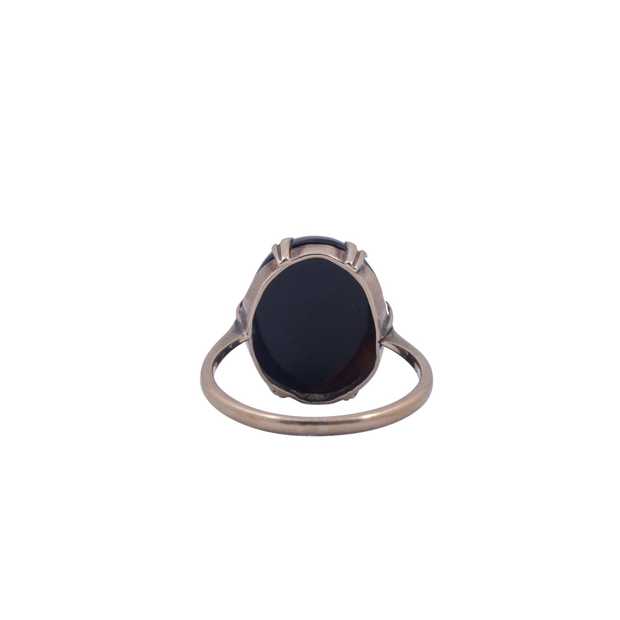 Victorian 9ct Yellow Gold and Banded Agate Ring
