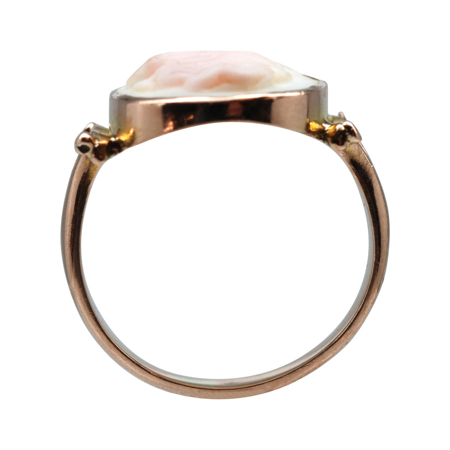 Antique 9ct Rose Gold Pink Shell Cameo Ring.