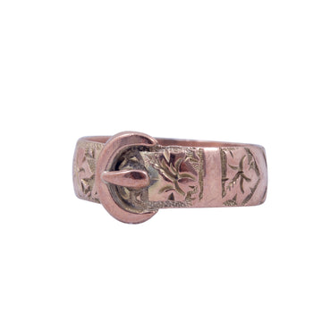 Antique 9ct Rose Gold Buckle Ring.