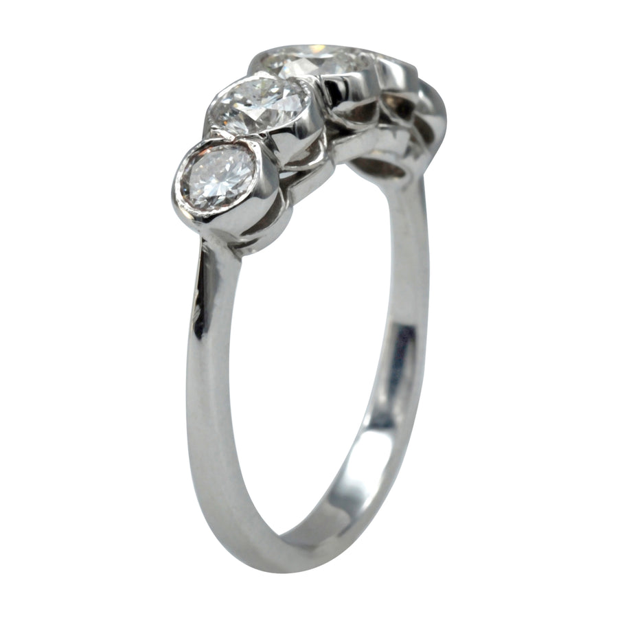 Antique style 18ct White Gold half hoop and Diamond Ring