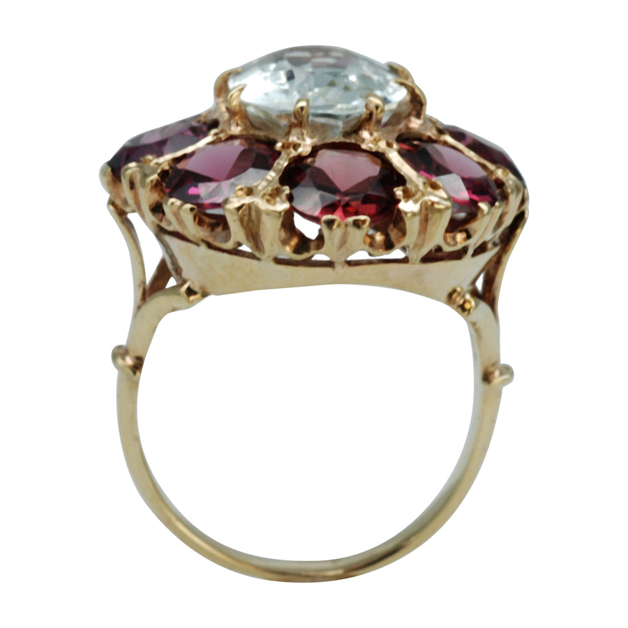 Vintage 9ct Yellow Gold, Garnet and Aquamarine Cocktail Ring.