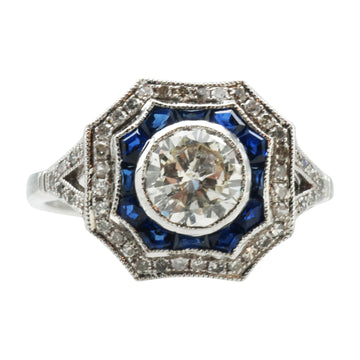 Bespoke 18ct White Gold,Diamond and Sapphire ring.