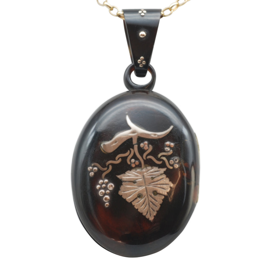 Victorian Pique locket with grape leaf design