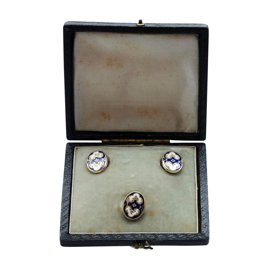 Antique Gold and  Enamel shirt studs in fitted box.