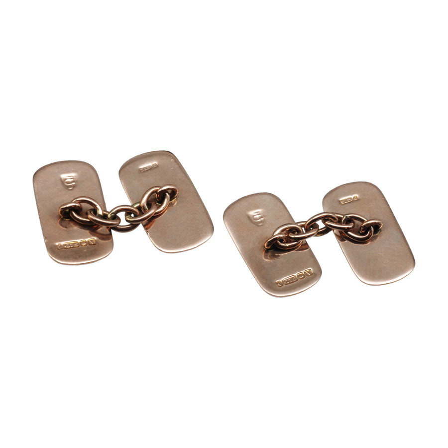 Deco 9ct Rose Gold Cufflinks - back