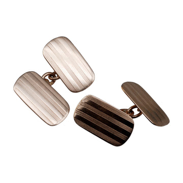 Deco 9ct Rose Gold Cufflinks - front
