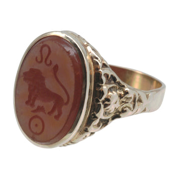 Antique 15ct Gold And Carnelian Intaglio Ring - front